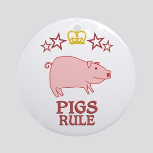Pigs Rule Round Ornament